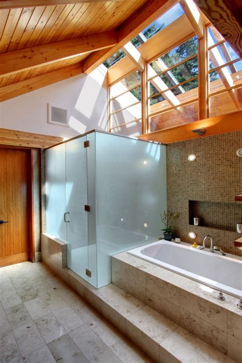 bathroom natural light stone wood  glass