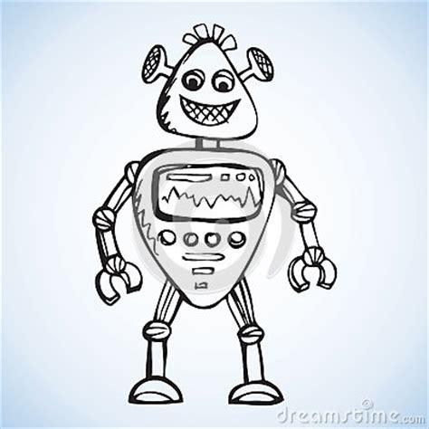 robot vector drawing stock vector image