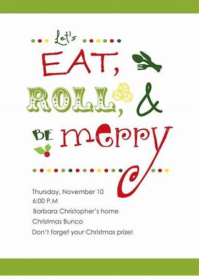 Invitations Christmas Bunco Invitation Party Invites Eat