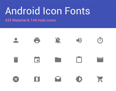 android fonts github johnkil android icon fonts material and holo
