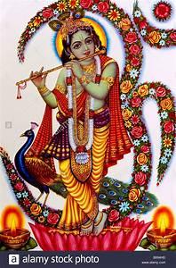 Krishna Playing Flute Hindu God Stock Photo: 17213993