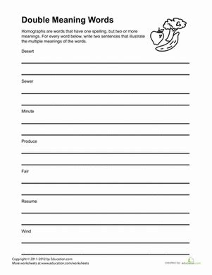 same word two meanings worksheet education com