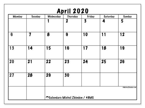 calendar april  ms michel zbinden en