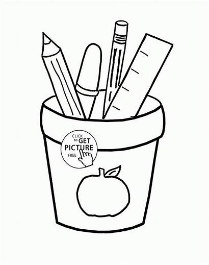 Coloring Supplies Pages Printables Drawing Wuppsy Printable