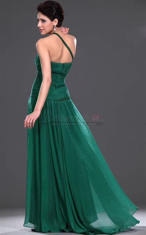 hunter green  shoulder long silk  chiffon vintage