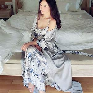 high end women sexy silk satin nightgown luxury sleepwear With robe de nuit longue