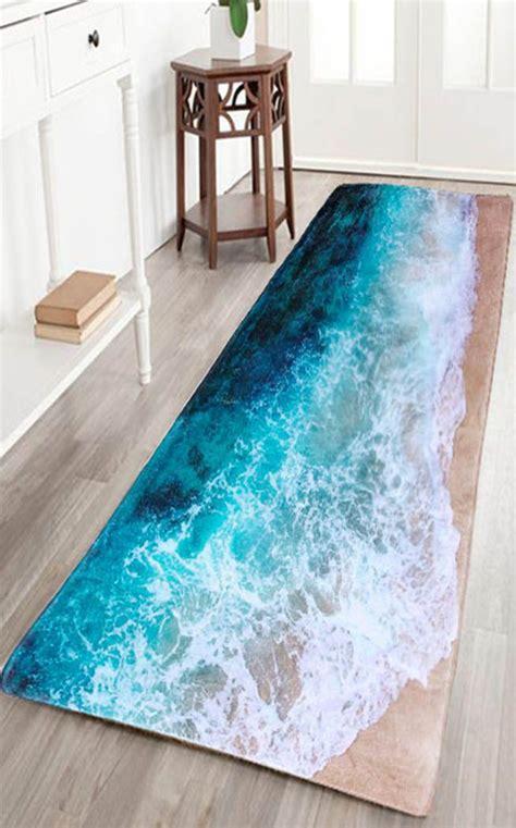sea beach print flannel skid resistance water absorb carpet home home decor beach print
