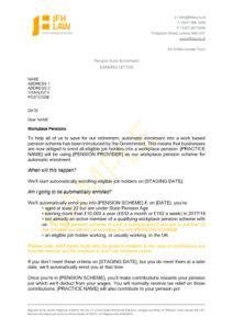 pension auto enrolment  letter jfh law