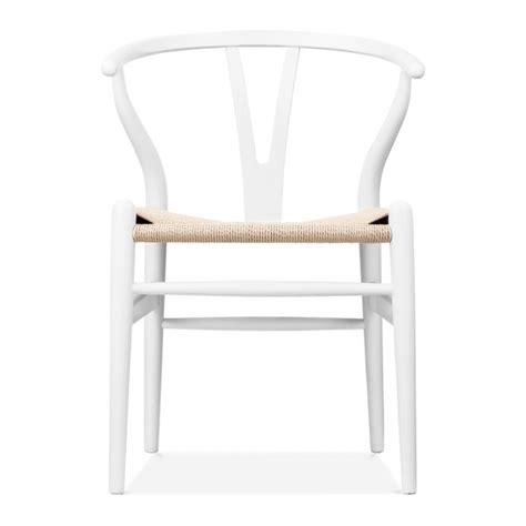 hans wegner style white wooden wishbone chair modern