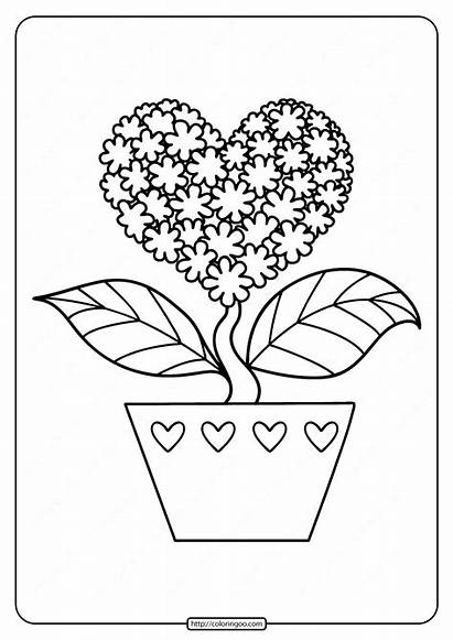 Coloring Flower Heart Printable Hearts Flowers Shaped