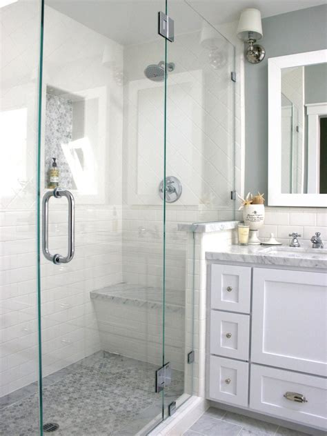 tiled walk  shower  contemporary bathroom hgtv