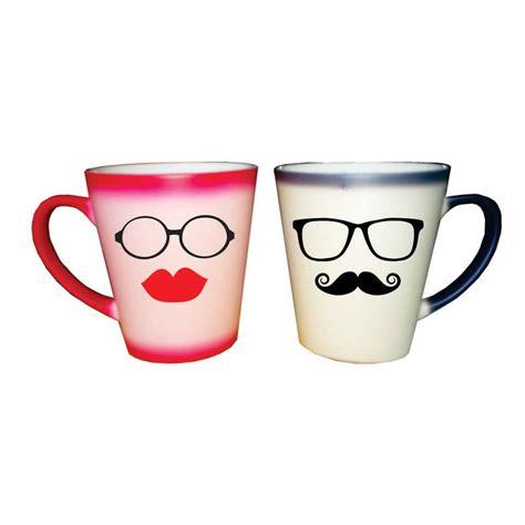 Funky Moustache Kiss Conical Magic Couple Mugs