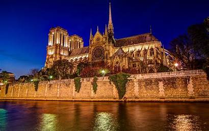 Dame Notre Cathedral Wallpapers Night Paris France