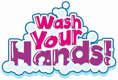 Wash Hands Bubbles Pink Phrase Vector Clipart