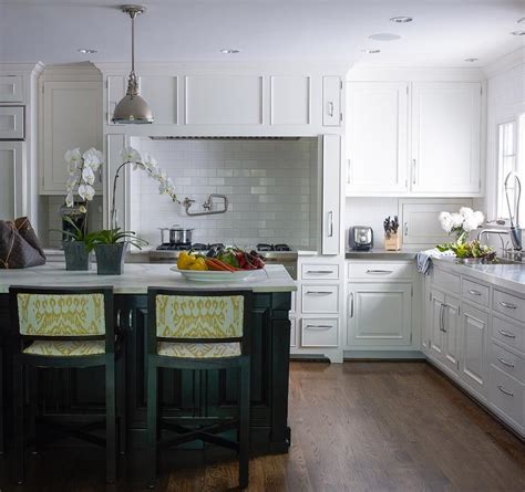 cooking alcove  marble diamond pattern tiles
