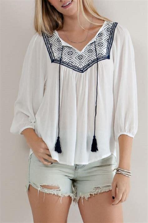 entro white embroidered blouse  florida  modern