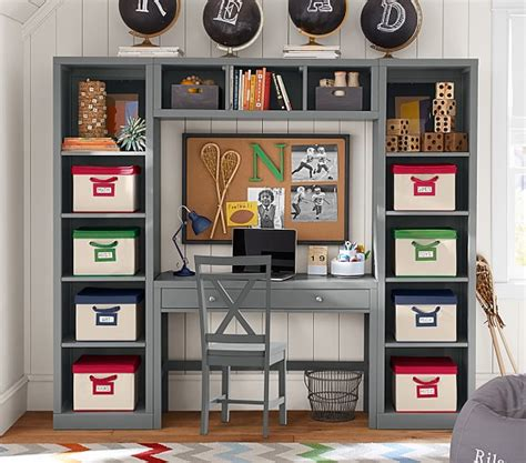 desks with storage desk storage wall system pottery barn