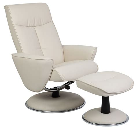 snow white bonded leather swivel recliner with ottoman