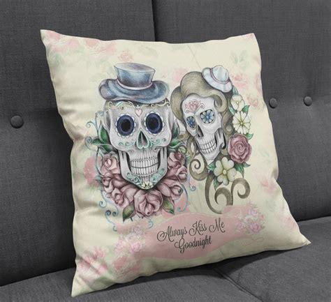 sugar skull pillow modern mysterious skull pillow great home decor