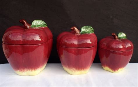 apple canisters for the kitchen apple canisters jars vintage set of 3 red apple fine pottery kitchen mid century 34 99 via