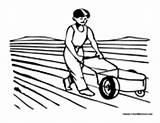 Farmer Coloring Field Pages Plowing Boy Colormegood sketch template