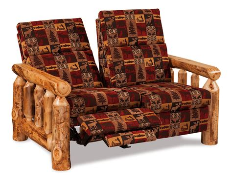 amish rustic log reclining loveseat