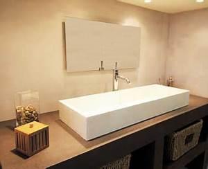 du beton mineral creme en deco relooking salle de bain With beton mineral salle de bain