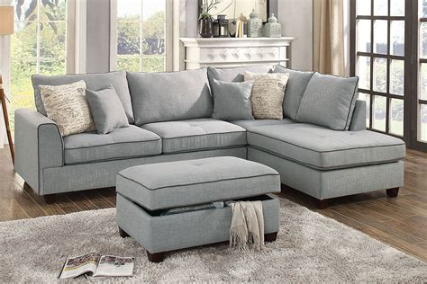 Light Gray Sectional Sofa by Poundex Maul F6543 Reversible Light Grey Dorris Fabric
