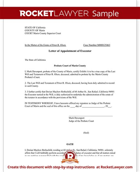 letter  appointment  executor template  sample
