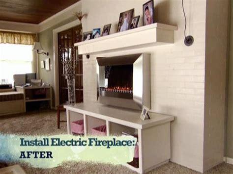 install  electric fireplace  custom built mantel
