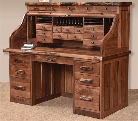 wooden roll top desk live edge deluxe solid wood roll top desk
