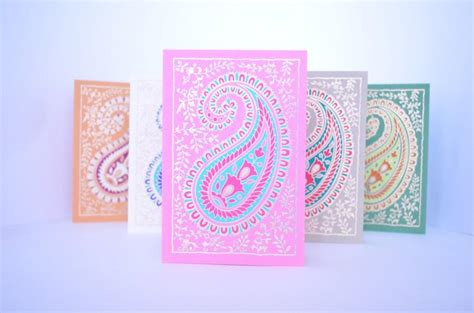 Paisley Blank Greeting Card Set, Indian Wedding Cards