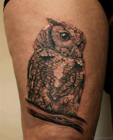 lovable owl tattoo  thigh
