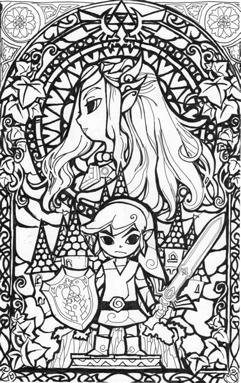 cool coloring page legend of zelda coloring pages