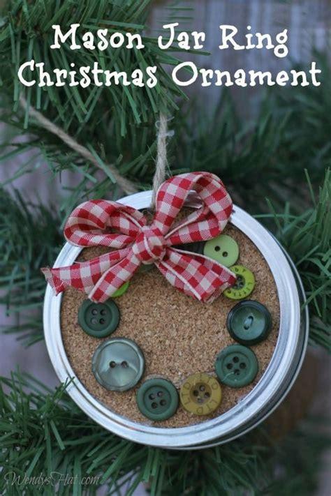 simple  festive mason jar lid ornaments