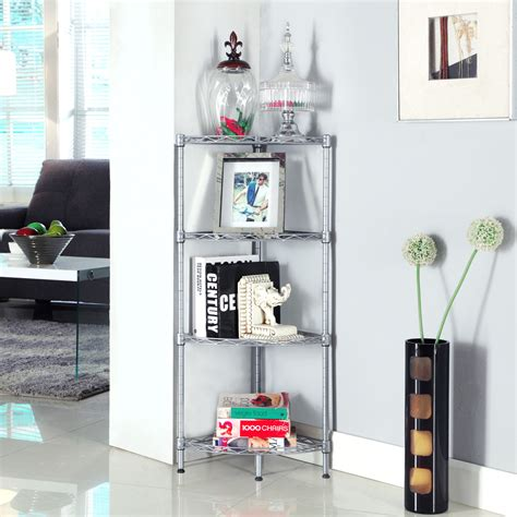 4tier Wire Shelving Rack Metal Shelf Adjustable Corner