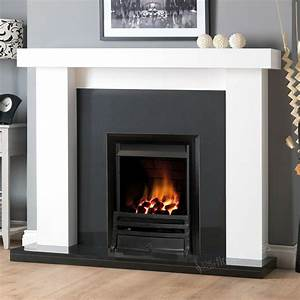 Gas, White, Surround, Wall, Black, Granite, Stone, Black, Fire, Fireplace, Suite, Large, 54, U0026quot