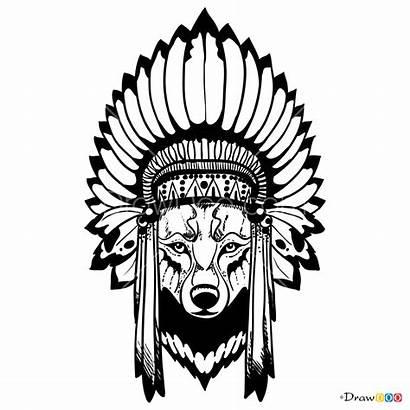 Wolf Indian Drawing Tattoo Headdress Draw Wolfs
