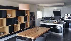 cuisine design avec ilot central modele rendez vous With table de salle a manger noire pour petite cuisine Équipée