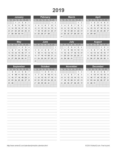 yearly calendar notes vertexcom