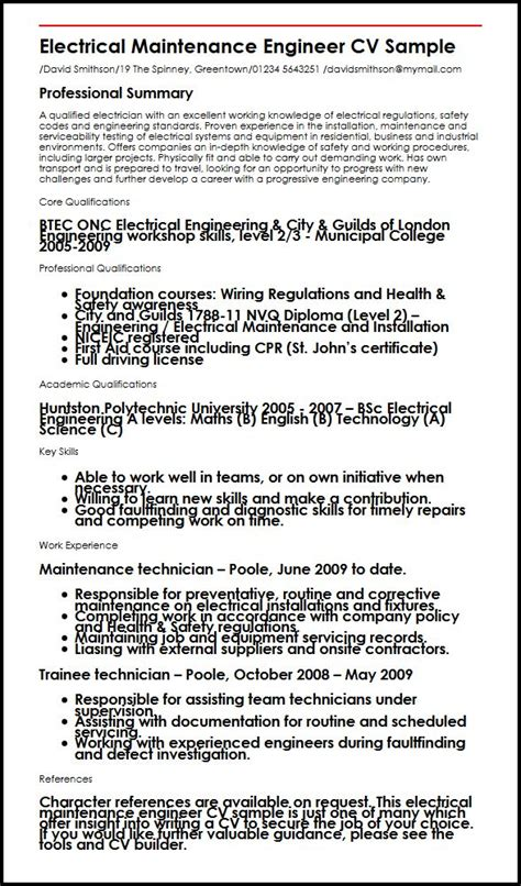 electrical maintenance engineer cv sample myperfectcv