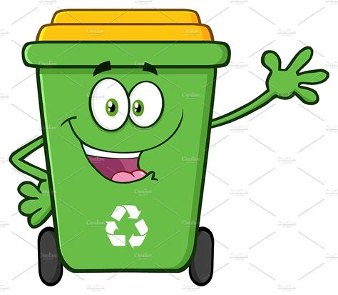 recycle bin clipart happy green recycle bin illustrations creative market