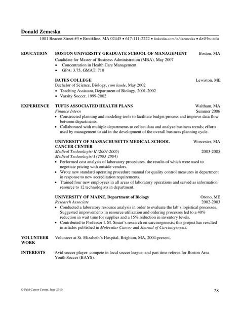 mba candidate resume exle writing mba resumes