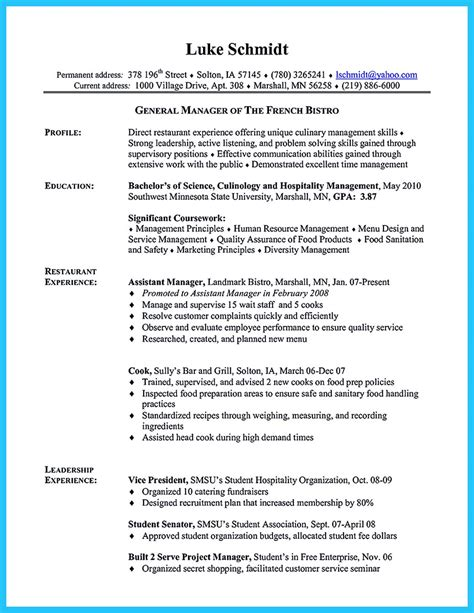 Culinary Resume Sle by Excellent Culinary Resume Sles To Help You Approved