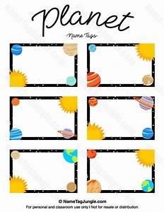preschool name tag templates - printable planet name tags