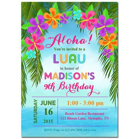 Luau Invitation Printable Or Printed With Free Shipping