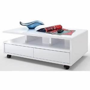 Table Basse Sur Roulette : table basse sur roulettes style contemporain laqu blanc ~ Melissatoandfro.com Idées de Décoration