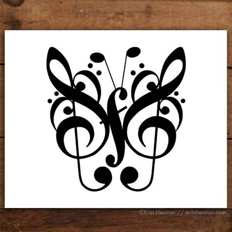 butterfly  note art print set unique gift  musicians erin heaton art