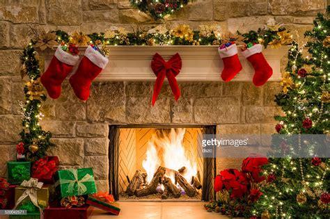 christmas fireplace tree stockings fire hearth lights