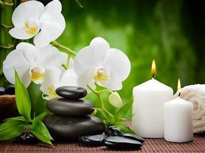 Spa Zen Candle Orchid Towel Massage Stones